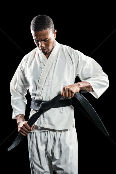Kämpfer Karate Gürtel Porträt schwarz Fitness Stock foto © wavebreak_media