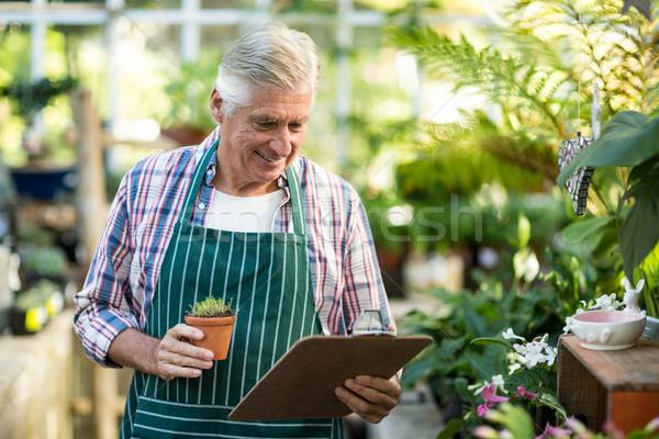 Férfi kertész tart cserepes növény vágólap mosolyog Stock fotó © wavebreak_media