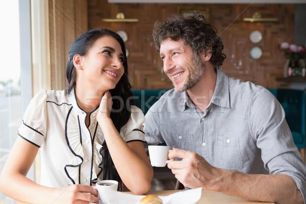 Paar koffie cafetaria gelukkig vrouw voedsel Stockfoto © wavebreak_media