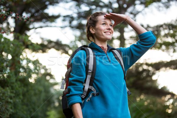 женщины турист глазах лес женщину человека Сток-фото © wavebreak_media