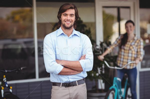 Portre adam ayakta dışında kafe Stok fotoğraf © wavebreak_media