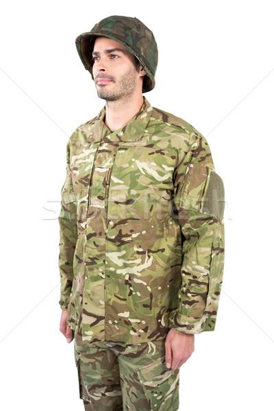 Asker ayakta beyaz adam güvenlik eğlence Stok fotoğraf © wavebreak_media