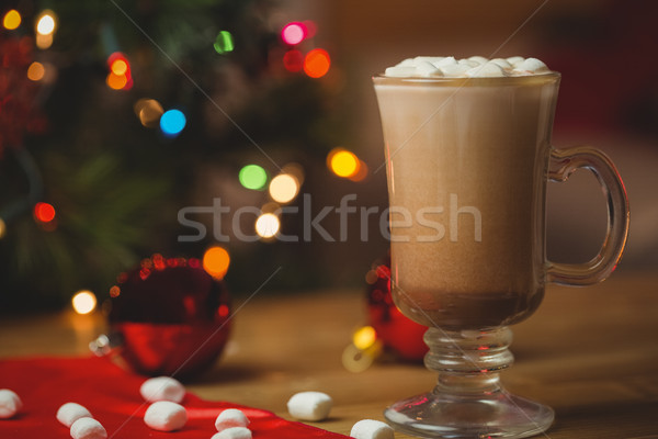 Cup of coffee with marshmallow on wooden table Stock photo © wavebreak_media