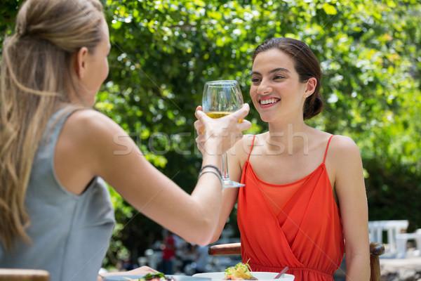 Glimlachend vrouwelijke vrienden wijnglazen restaurant Stockfoto © wavebreak_media