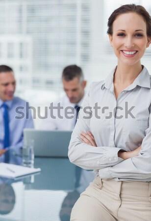 положительный деловая женщина презентация заседание работу бизнесмен Сток-фото © wavebreak_media