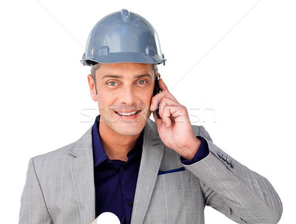 харизматический мужчины архитектора телефон белый бизнеса Сток-фото © wavebreak_media