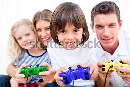 Animated family playing video game Stock photo © wavebreak_media