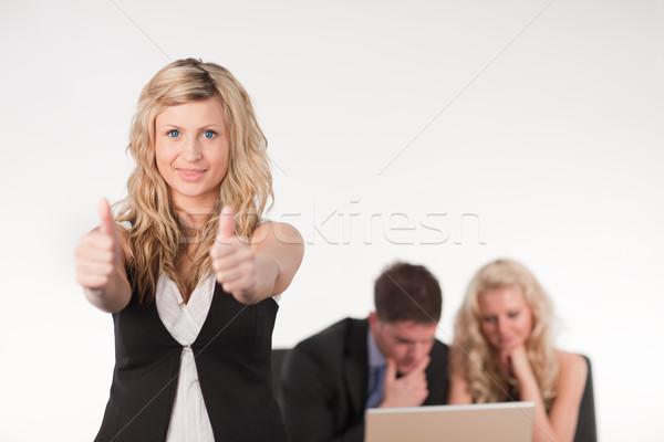 деловая женщина большой палец руки вверх ведущий чай Сток-фото © wavebreak_media