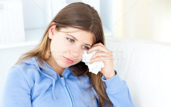 Teenager removing her make-up at home Stock photo © wavebreak_media