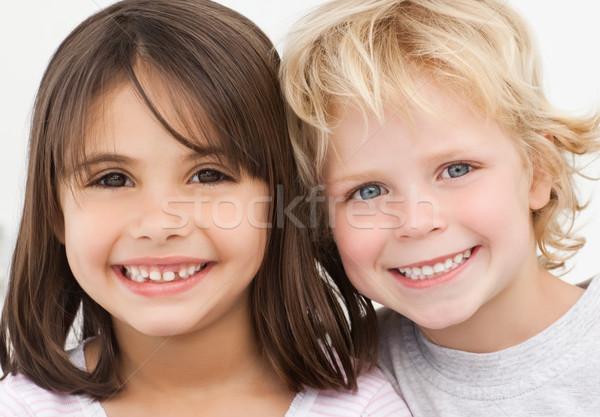 Portre iki mutlu çocuklar mutfak ev Stok fotoğraf © wavebreak_media