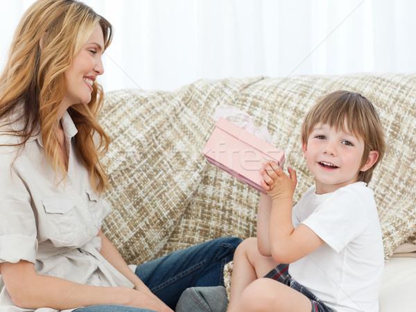 счастливым детей подарок домой ребенка комнату Сток-фото © wavebreak_media