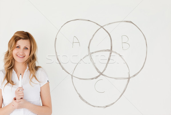 Smiling teacher looking at the camera while standing near a white board in a classroom Stock photo © wavebreak_media