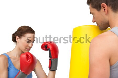 Fiatal női gyakorol box fehér sport Stock fotó © wavebreak_media