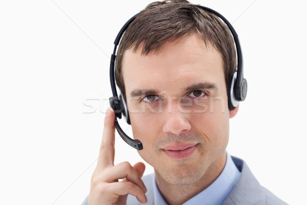 üzletember headset fehér üzlet mosoly kapcsolat Stock fotó © wavebreak_media