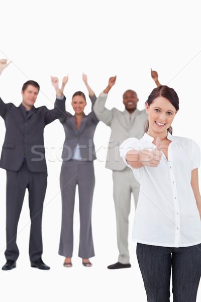 üzletasszony éljenez kollégák mögött jóváhagyás fehér Stock fotó © wavebreak_media