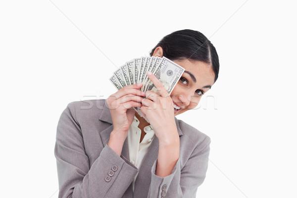 Fiatal elarusítónő arc bank jegyzetek fehér Stock fotó © wavebreak_media