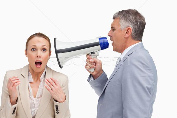 Empresário megafone colega branco alto-falante executivo Foto stock © wavebreak_media