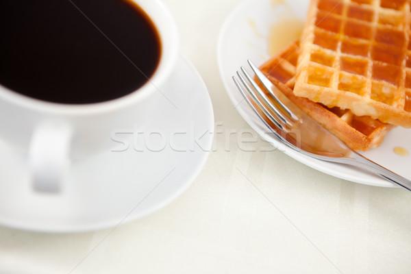 Xícara de café tabela comida café garfo copo Foto stock © wavebreak_media