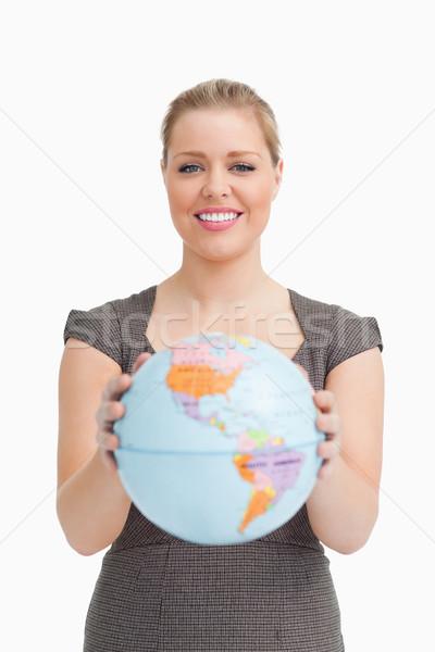 Mulher globo branco mãos feliz Foto stock © wavebreak_media