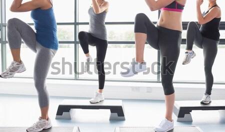 Három nők aerobik osztály tornaterem nő Stock fotó © wavebreak_media