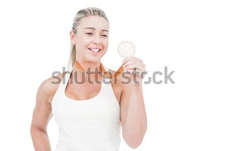 Kobieta stałego biały ręcznik uśmiechnięty Zdjęcia stock © wavebreak_media
