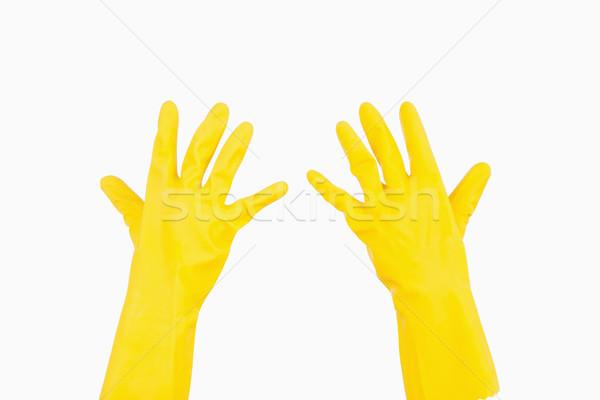 Sarı lastik eldiven kadın el arka plan Stok fotoğraf © wavebreak_media
