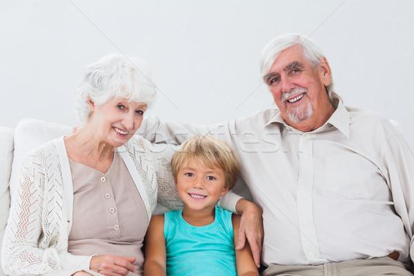 внук сидят дедушка и бабушка диване дома любви Сток-фото © wavebreak_media