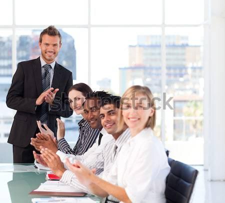 üzletasszony csapat elvesz törik mosolyog lány Stock fotó © wavebreak_media