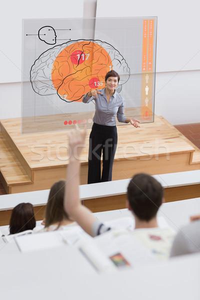Leraar futuristische interface wijzend student hersenen Stockfoto © wavebreak_media
