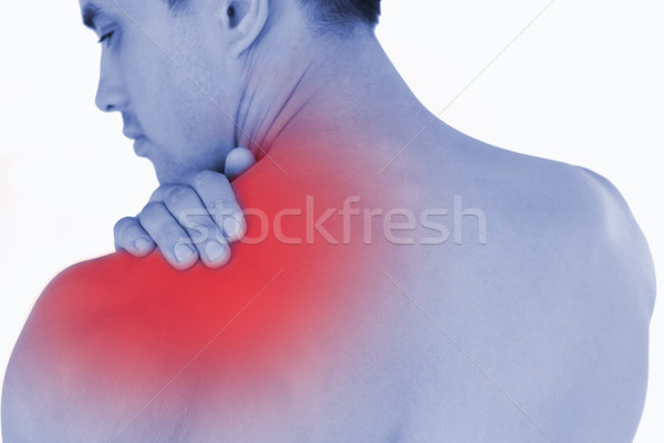 Fiatal férfi nyaki fájdalom fehér kéz sportok Stock fotó © wavebreak_media