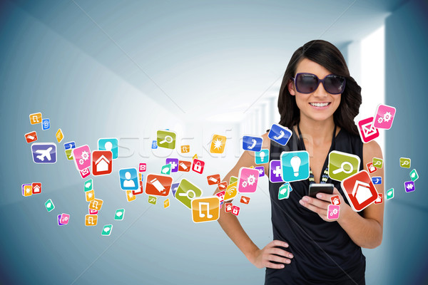 Pompás barna hajú okostelefon app ikonok digitális kompozit Stock fotó © wavebreak_media