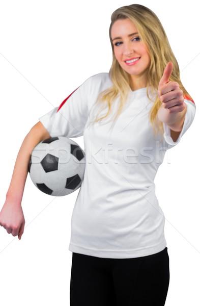 Bastante futebol ventilador branco sorridente futebol Foto stock © wavebreak_media