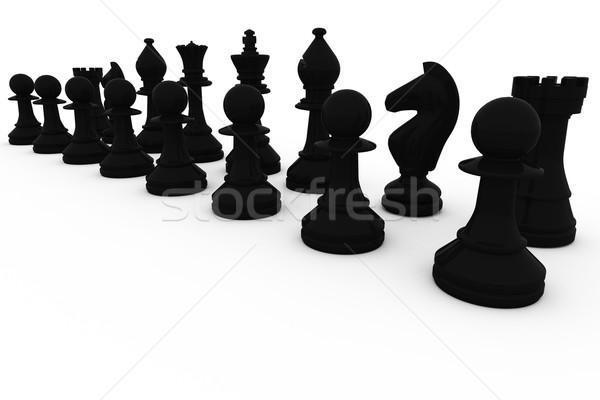 Black chess pieces in a row Stock photo © wavebreak_media