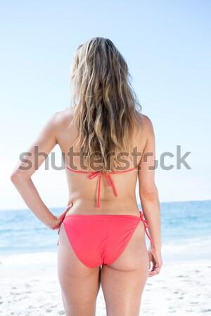 Középső rész fitt nő bikini tengerpart napos idő Stock fotó © wavebreak_media