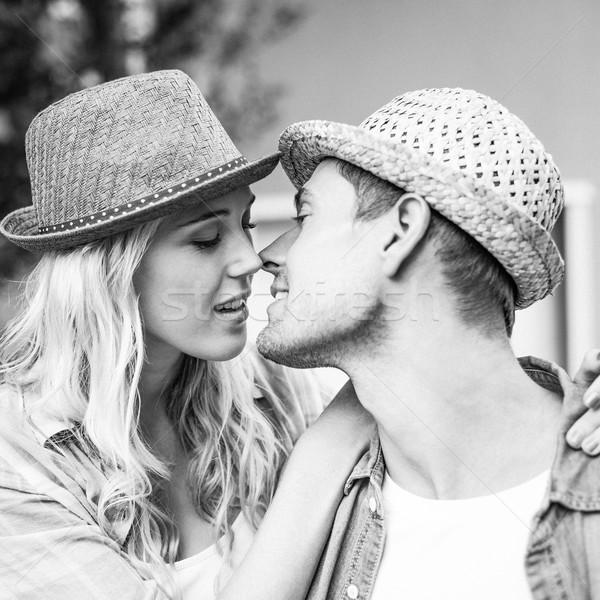 Csípő fiatal pér csók feketefehér férfi fekete-fehér Stock fotó © wavebreak_media