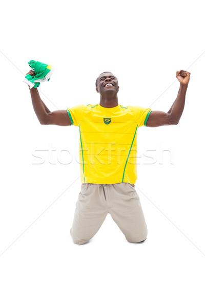 Izgatott futball ventillátor éljenez boldog sport Stock fotó © wavebreak_media