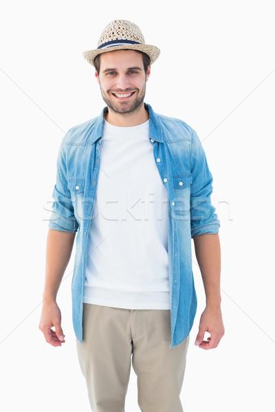 красивый улыбаясь камеры белый рубашку Сток-фото © wavebreak_media