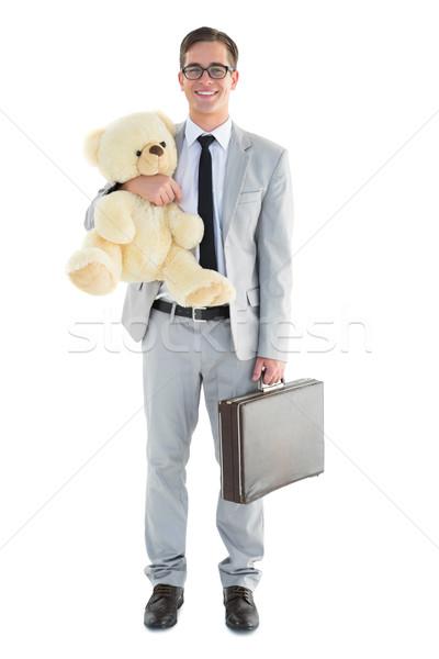 Knap zakenman aktetas teddy witte Stockfoto © wavebreak_media