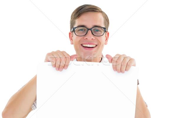 ヒップスター 笑みを浮かべて カード 白 肖像 ストックフォト © wavebreak_media