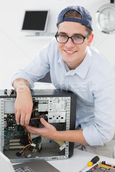 Számítógép mérnök dolgozik törött konzol iroda Stock fotó © wavebreak_media