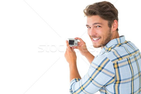 Adam fotoğraf gülen kamera beyaz Stok fotoğraf © wavebreak_media