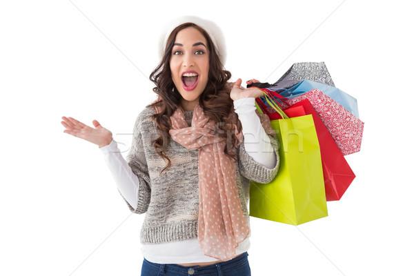 Izgatott barna hajú bevásárlótáskák fehér boldog szépség Stock fotó © wavebreak_media