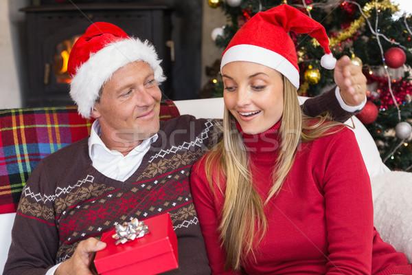 Loving couple in santa hat with gift Stock photo © wavebreak_media