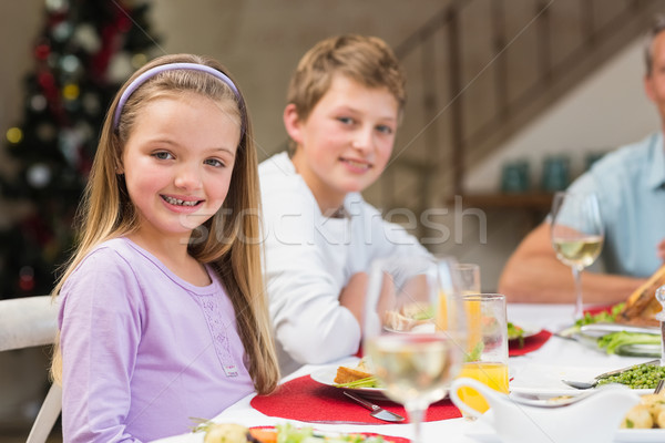 Portret glimlachend meisje christmas diner home Stockfoto © wavebreak_media