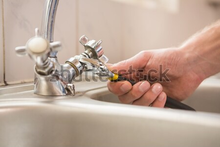 Plumber fixing the sink with wrench Stock photo © wavebreak_media