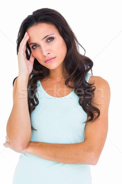Mooie brunette hoofdpijn witte gezondheid vrouwelijke Stockfoto © wavebreak_media