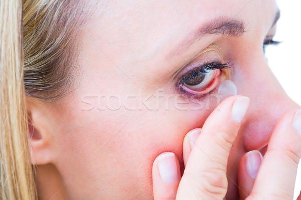 Blond contactlens witte vrouw Stockfoto © wavebreak_media