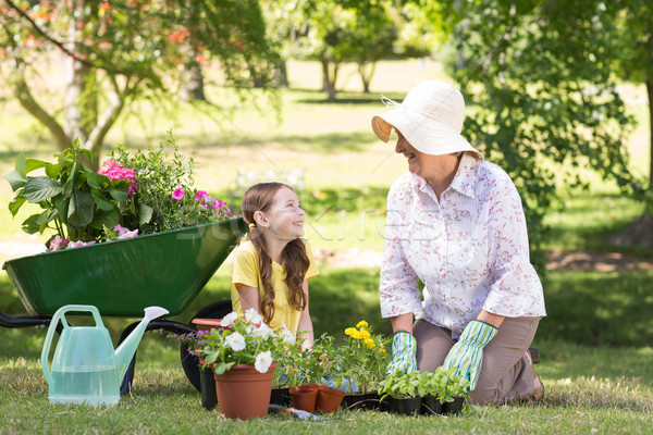 Happy grandmother with her granddaughter gardening Stock photo © wavebreak_media