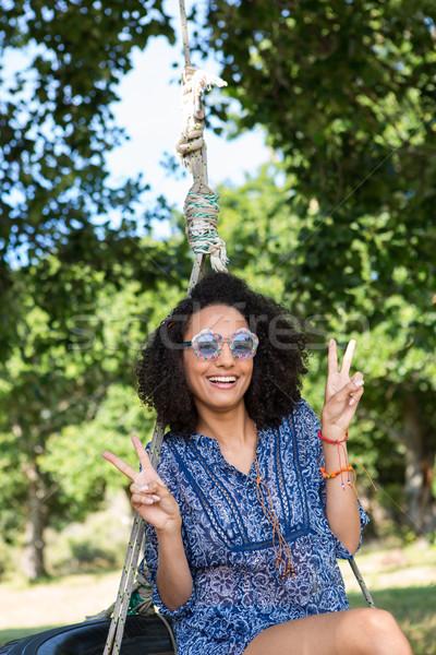 Foto d'archivio: Bella · pneumatico · swing · felice · natura