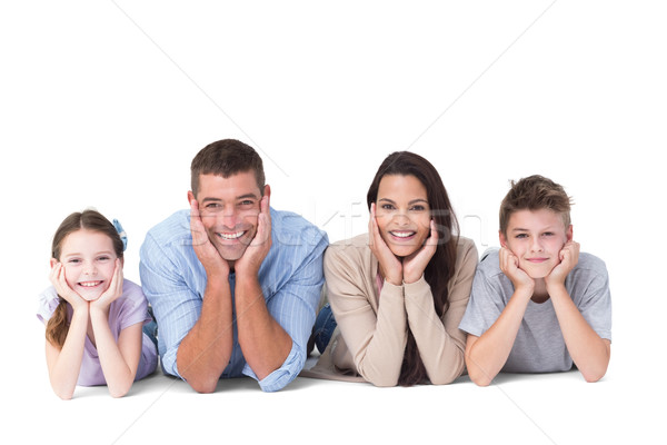 Happy family lying with head in hands Stock photo © wavebreak_media